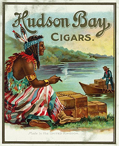 Hudson Bay Brand Cigar Outer Box - Vintage Label (12x18 Art Print, Wall Decor Travel Poster)
