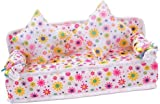 Mini Flower Sofa Couch +2 Cushions For Doll House Accessories