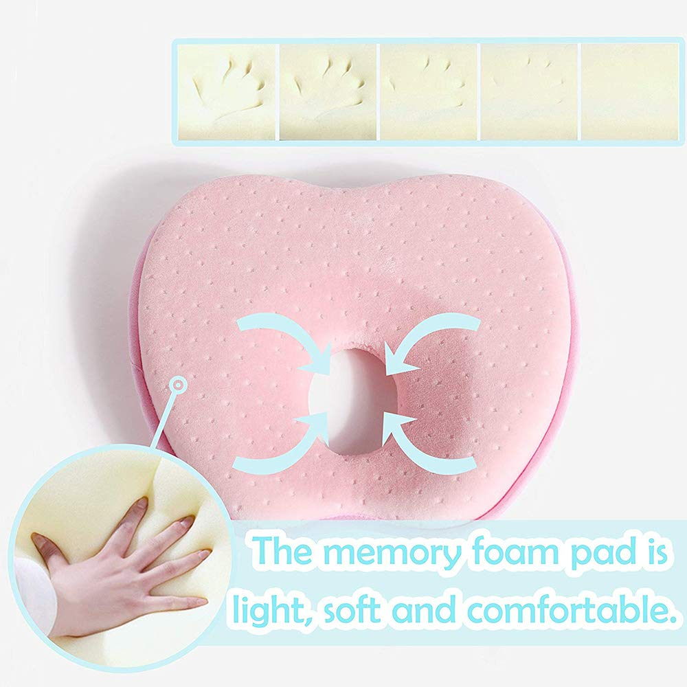 Hidetex Baby Pillow 100/% Guarantee 0-12 Months for Your Newborn Baby,Made of Memory Foam Head- Shaping Pillow and Neck Support Preventing Flat Head Syndrome Plagiocephaly Blue