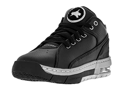 Jordan Nike Kids  Ol School Low Black and Silver Synthetic Leather  Basketball ... e6f8e849a