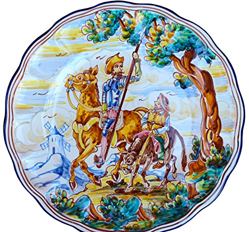 Decorative Plate from Spain - Don Quixote & Sancho Panza (Spear Up) by Cactus Canyon Ceramics