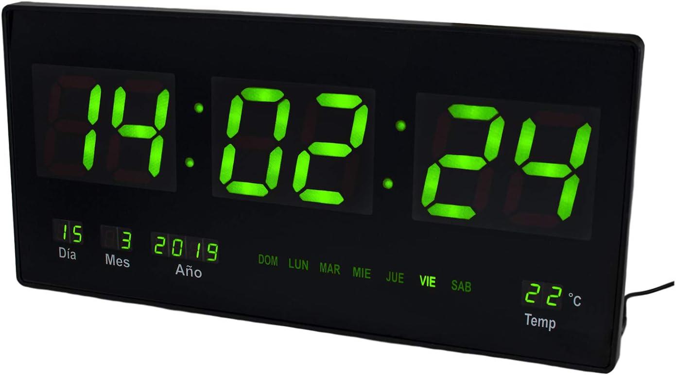 JEVX Reloj Digital de Pared - Grande para Colgar Alarma Luz Color Verde Calendario Termometro Medidor de Temperatura Fuente de Alimentacion