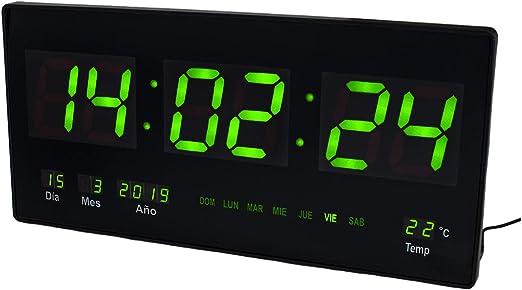 JEVX Reloj Digital de Pared - Grande para Colgar Alarma Luz Color Verde Calendario Termometro Medidor de Temperatura Fuente de Alimentacion: Amazon.es: Hogar