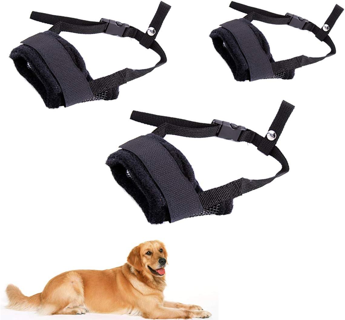 Yueser 3 Piezas Bozal para Perros Ajustable Transpirable Bozal de Nylon para Perros Pequeños Medianos o Grandes Evitar ladrar y Masticar (M,L,XL,Negro): Amazon.es: Productos para mascotas