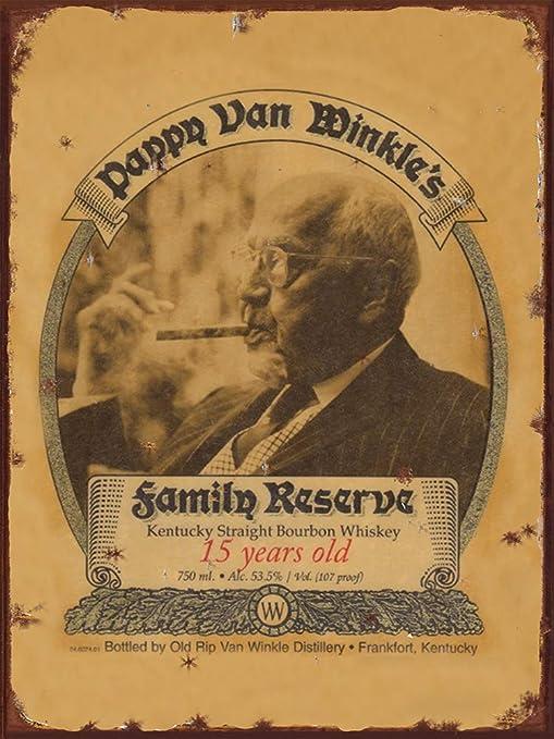 Rip Van Winkle handmade bourbon whiskey label reproduction steel sign bar decor