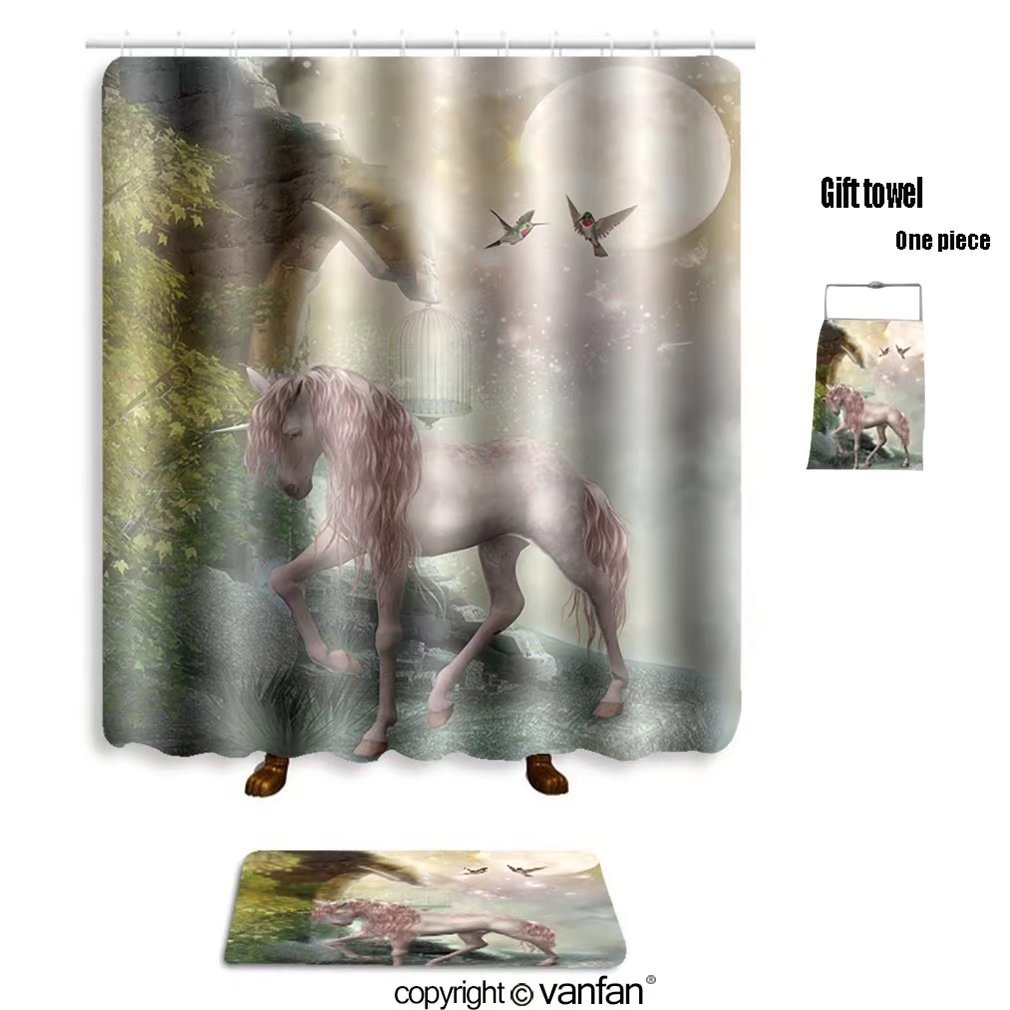 vanfan bath sets with Polyester rugs and shower curtain last unicorn_9146562 shower curtains sets bathroom 69 x 90 inches&31.5 x 19.7 inches(Free 1 towel and 12 hooks)