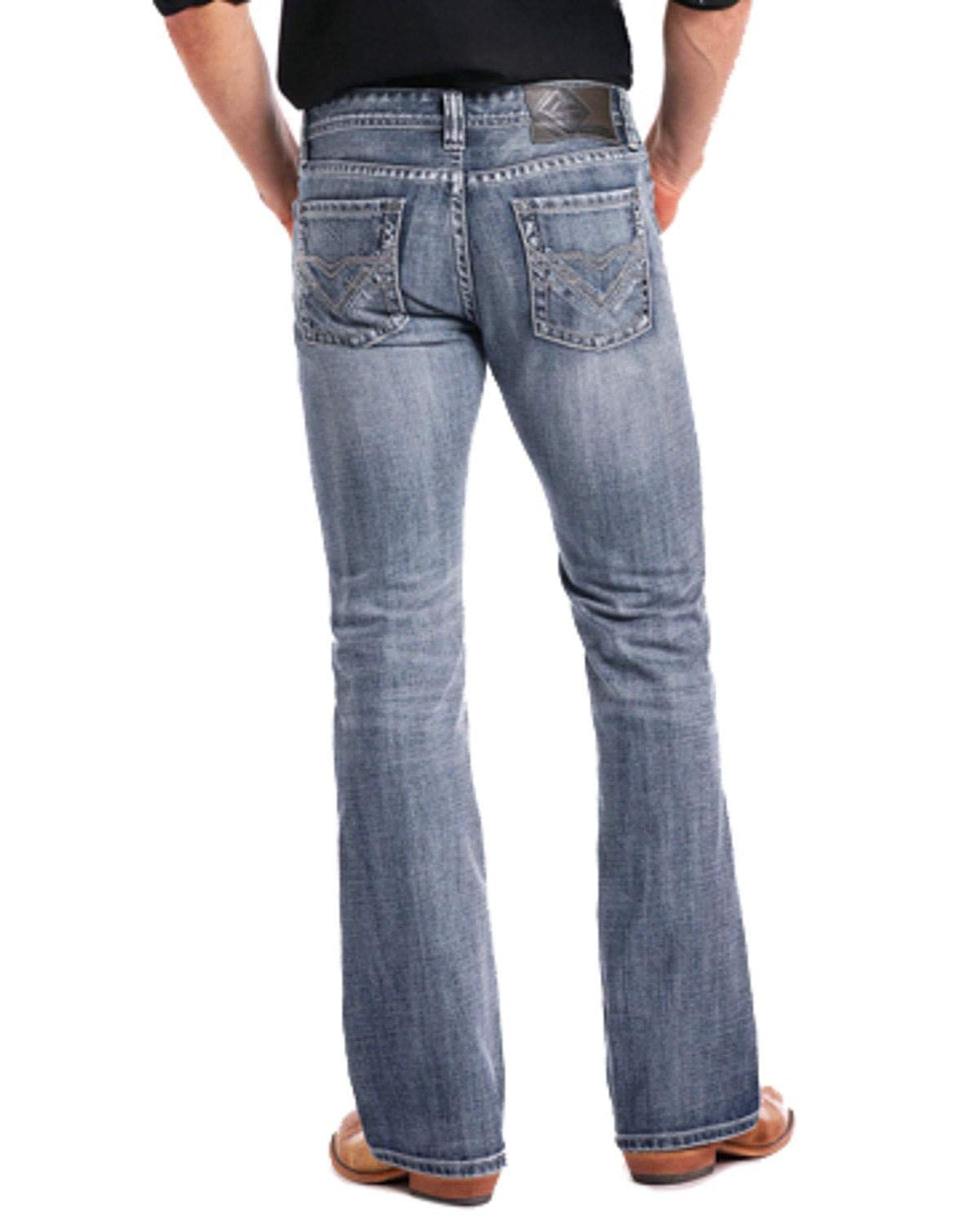Rock & Roll Cowboy Men's and Pistol Large Double V Embroidered Boot Cut Jeans Blue 32W x 32L