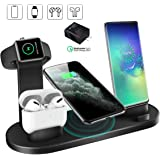 CREUSA® Wireless Charger, 3 in 1 Charging Station for Multiple Devices, Charging Dock for AirPods, Watch Stand for Apple Watch, Qi Fast Wireless Charging Stand Compatible for Samsung Galaxy S10/S10+/S9/S9+/S8/S8+/Note 9/Note 8, iPhone Xs Max/Xs/XR/X/8/8 Plus and All Qi-Enabled Devices(Black)