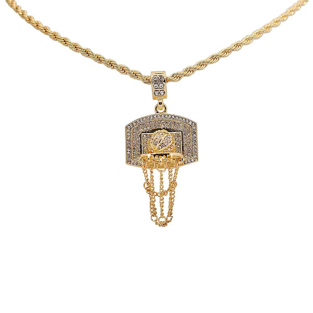 Yellow Gold-Tone Iced Out Hip Hop Bling Cubic Zirconia Sports Chain Basketball Hoop 3D Baskteball Pendant with 24'' Rope Chain