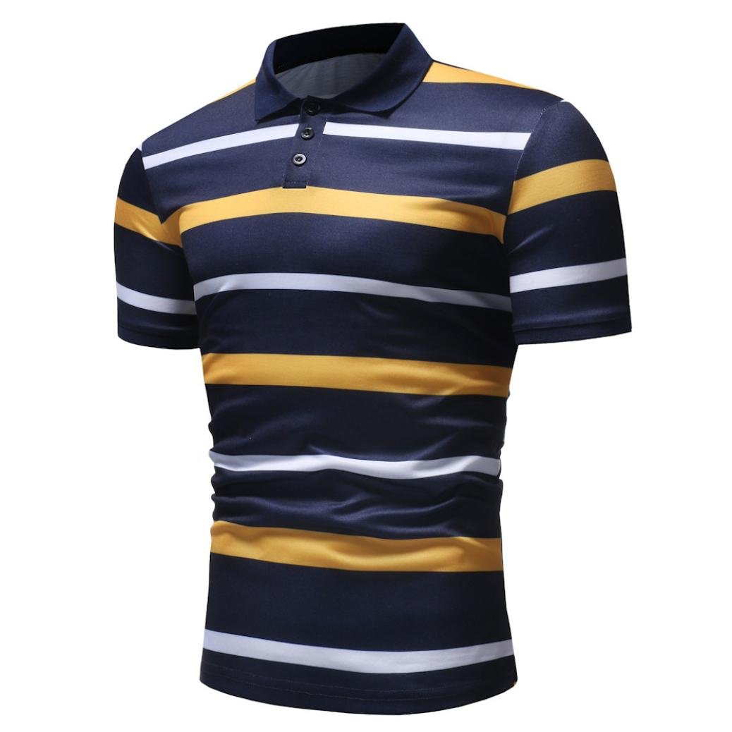 vermers Mens Fashion Polo Shirts Summer Casual Buttons Striped Short Sleeve T Shirt(2XL, Yellow) by vermers (Image #4)