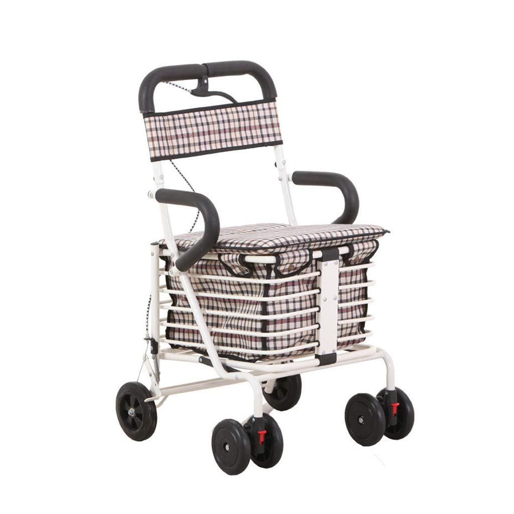 ショッピングカートの古い折りたたみカート 家は高齢者のショッピングカートのトロリーに座ることができます 旅行のカートを助けることができます/ロード100キログラム (Color : 白, Size : 40*47*90cm) 40*47*90cm 白 B07GT2CGCM