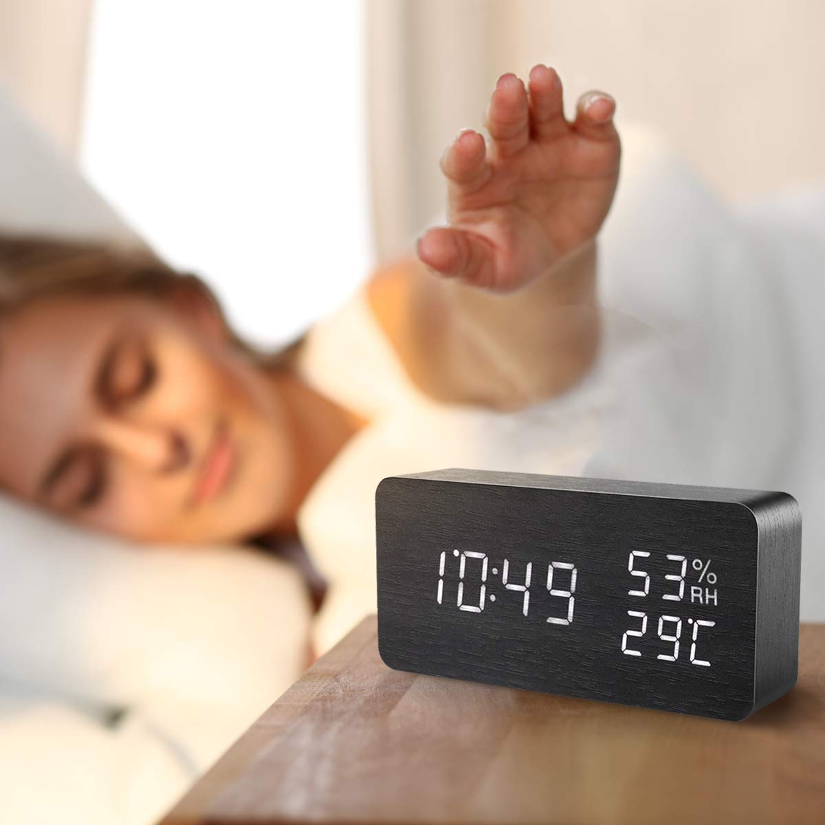 AMIR Alarm Clock, Wooden Digital Multi-Function Modern Cube LED Light, Smart Voice-Activated with 3 Alarm Sounds, Display Date Temperature & Humidity for Home, Kitchen, Bedroom (Black) by AMIR (Image #8)