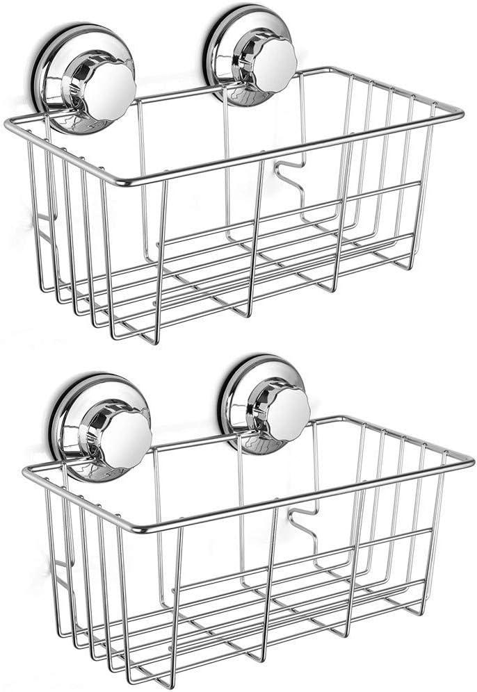 Slideep Vacuum Suction Cups Shower Caddy, Bathroom Storage Basket, Deep Bath Shampoo Conditioner Sponge Holder, Kitchen Storage Organizer, Stainless Steel Shelf-Set of 2