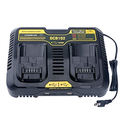 Elefly DCB102BP 2-Port Replacement Battery Charger for DEWALT 12V - 20V MAX Jobsite Charging Station DCB102 DCB102BP Dewalt Lithium Battery DCB205-2 ...