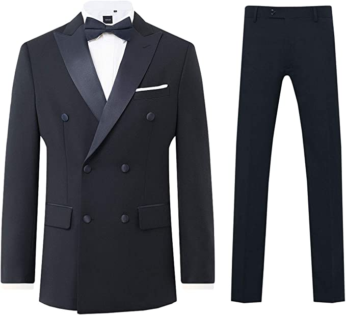 1920s Fashion for Men Navy 2 Piece Tuxedo Regular Fit Peak Lapel Double Breasted Black Trousers Dobell Mens £99.99 AT vintagedancer.com
