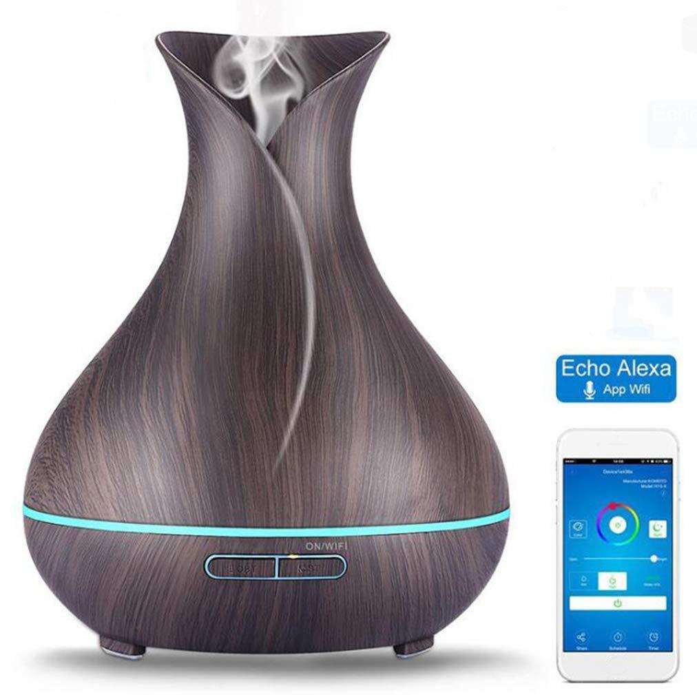 Smart Wifi Aromaterapia Aceite Esencial Difusor Compatible Con La Máquina De Aromaterapia De Madera Alexa. Colorido LED Y Configuración Del Temporizador Aroma Humidificador,Black