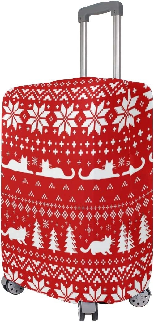 Cat Christmas Sweater Travel Luggage Cover Fits 18-32 inch Suitcase Protector HLive Spandex Dust Proof Covers with Zipper