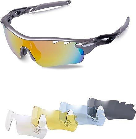 CVBN Occhiali da Sole da Uomo Ciclismo Occhiali da Bicicletta Occhiali da Sole per Sport allAria Aperta Occhiali con Montatura Nera Piatto Bianco