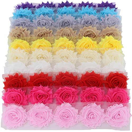 Mybigqueen 5 Piece Boutique Shabby Chic Fabric Rose Flowers Trim DIY Chiffon Frayed Tulle Flower, 10 - Flower Embellishment