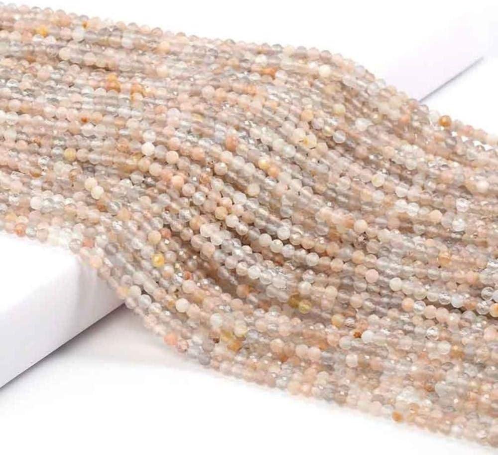 Cuentas pequeñas Cuentas de gemas de piedra natural 2 3 4 mm Sección Cuentas sueltas para hacer joyas Collar DIY Pulsera 38 cm, Piedra del sol, 4 mm