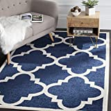 Safavieh Amherst Collection AMT423P Navy and Beige Indoor/Outdoor Area Rug, 8 Feet by 10 Feet