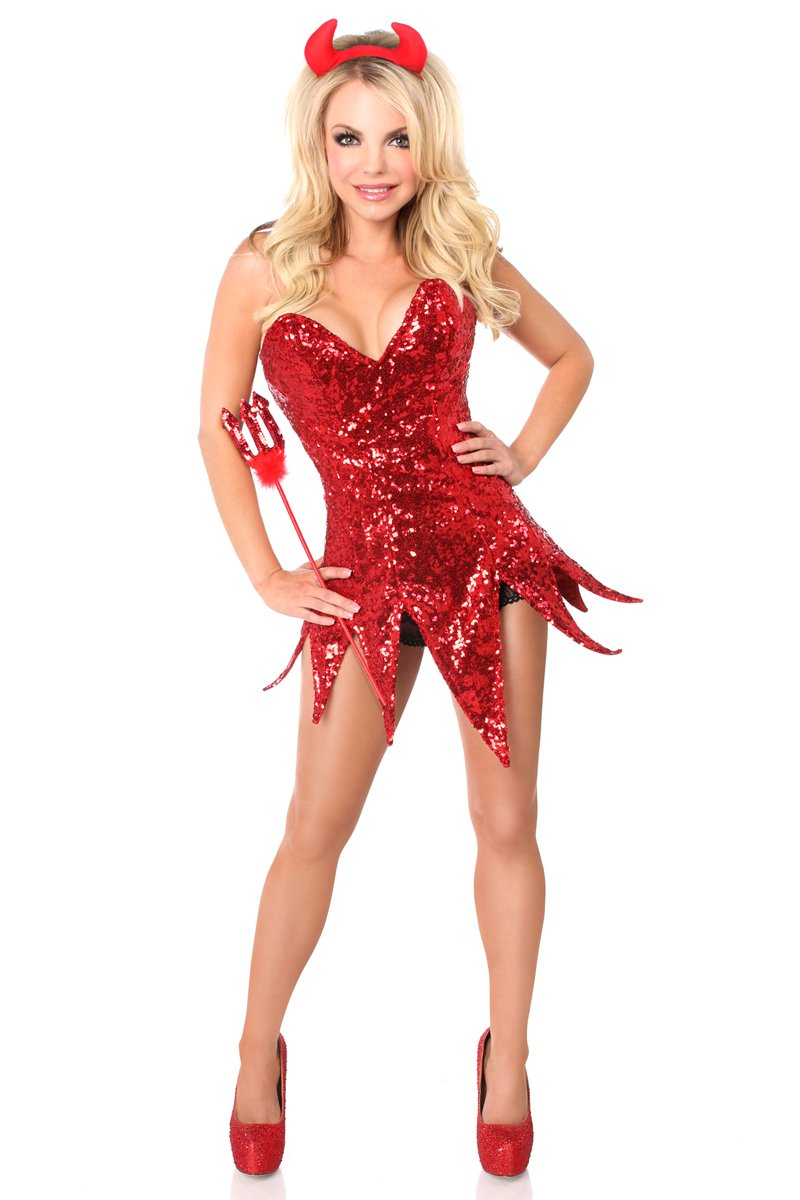 Daisy Corsets Women's Top Drawer Red Sequin Devil Corset Dress Costume, Red, X-Large
