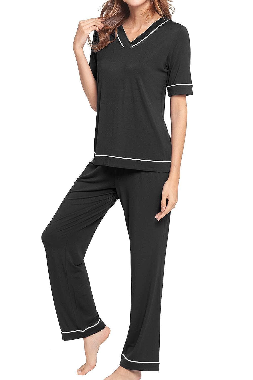 5e5b890ff1 WiWi Women s Bamboo Short Sleeve Pajamas Pants Set V Neck Lounge Wear and Sleepwear  S-XL