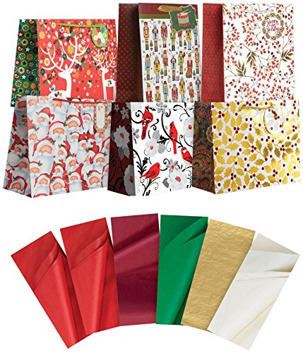 Jillson Roberts Christmas Large Gift Bags in Assorted Designs with Tissue, Treasured Traditions, 6-Count