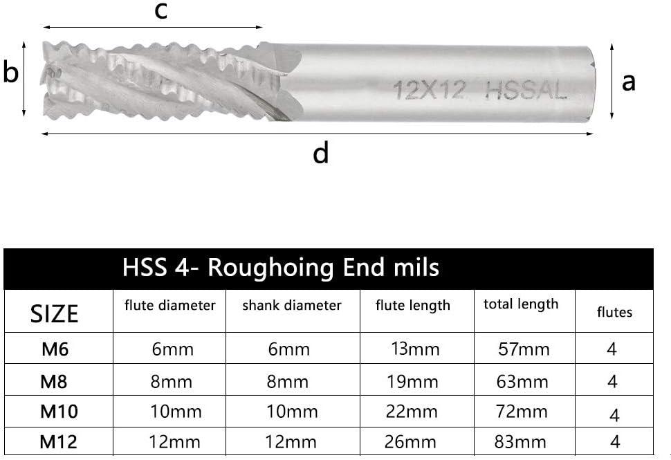 Roadiress End Mill CNC Router Bit Milling Cutter 4pcs 4 Flutes HSS Roughing for Milling Machine M6 //M8 //M10 //M12