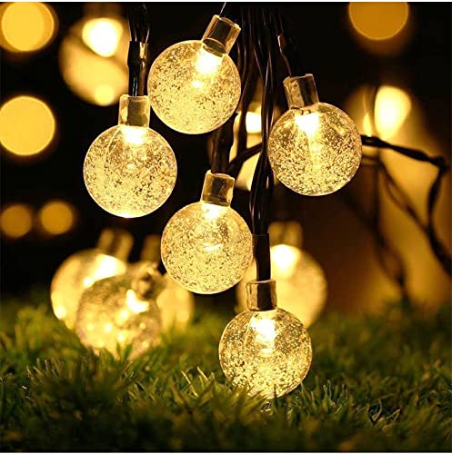 Solar String Lights – Solar Lights Outdoor with 50 LED Warm White Waterproof Fairy Bubble Lamp, for Home, Patio, Lawn, Garden, Party, Wedding, Christmas, Dating, and Holiday Decorations