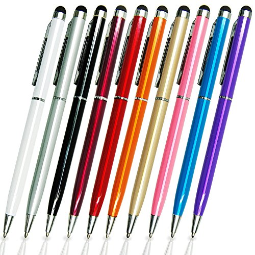9 Pack Stylus Bundle of 5.5-inch Colorful Universal 2 in 1 Capacitive Multi Touch Screen Stylus Ball Point Pen Set Screen Tablet Mobile Cell Phone PDA Styli Pens