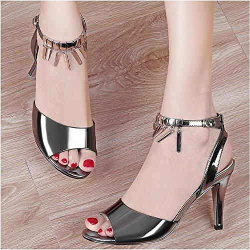 Moda Mujer verano sandalias confortables tacones altos,35 blanco gun color