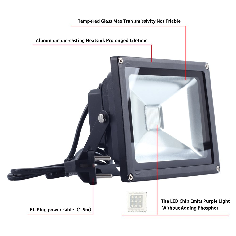 CHINLY Haute Puissance 10W Ultra Violet LED Projecteur IP65 UV Blacklight