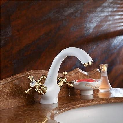 QIMEIM Grifo de Lavabo Grifo para Cocina Baño Mezclador de Lavabo Agua fría y caliente de Latón de palanca única Accesorios de baño Suministros de limpieza y saneamiento