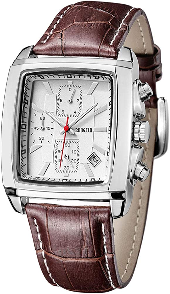 Reloj Megir Elegante rectángulo, Relojes cronógrafo de Cuarzo analogico con Correa Negro de Cuero para Hombre, Impermeable