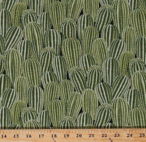 Cotton Cactus Cacti Spines Southwestern Southwest Desert Plants Succulents Green Cotton Fabric Print by the Yard - Fabric Print Southwestern