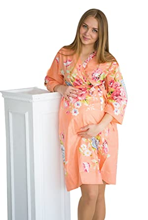 f2b407fad3e My Growing Belly Peach Maternity Robe - Perfect as Hospital Gown ...