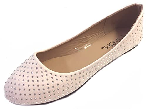a0b321c49 Womens Faux Suede Rhinestone Ballerina Ballet Flats Shoes 4021 Blush 5 6   Amazon.ca  Shoes   Handbags