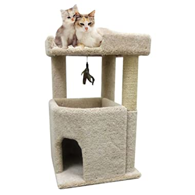 CozyCatFurniture Big Kitty Condo Cat Furniture for Large Cats Best Cat Condos, Beige Carpet