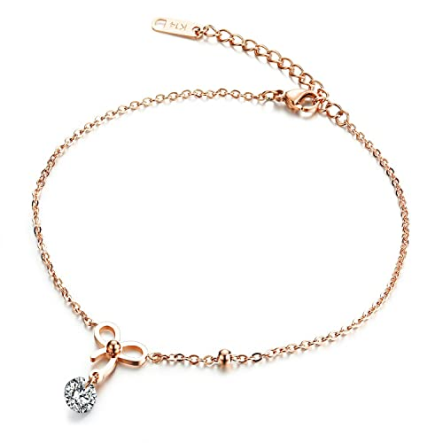 761b25dfe19 Mmiiss Women Foot Bracelet Bowknot Charms Anklet Chain Beach Sandal  Barefoot Jewellery