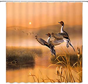 AMHNF Oil Painting Duck Shower Curtain Nature Landscape Orange Brown Rice Field Sunset Farmhouse Cabin Hunting Bathroom Decor Fabric Curtains 70x70 Inches with Hooks