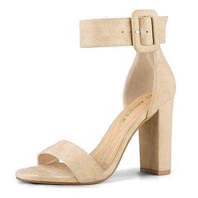 9073f76dc0e Allegra K Women s Ankle Strap Block High Heel Beige Sandals - 5.5 ...