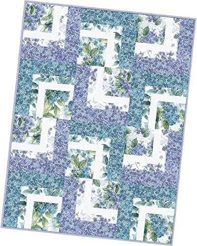 Maywood Studio Watercolor Hydrangeas Corner Cabin Quilt Pod Kit POD-MAS08-WAH (Corner Fabrics Quilt)