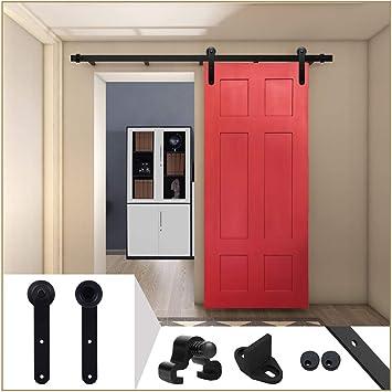 LWZH 8FT/244 cm Herraje para Puerta Corredera Kit de Accesorios para Puertas Correderas,Negro Redondo Forma: Amazon.es: Bricolaje y herramientas