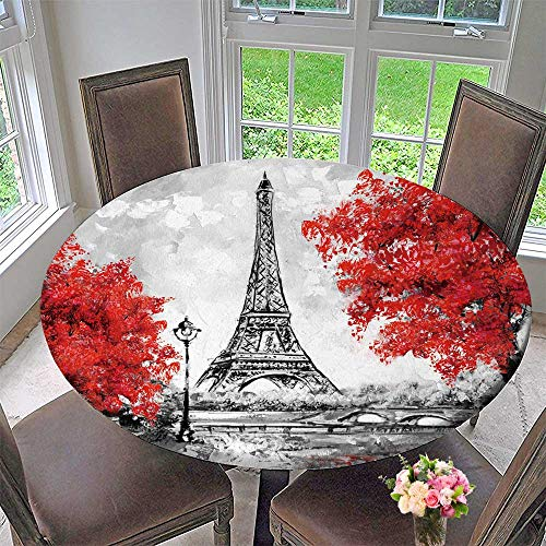 - PINAFORE HOME Round Premium Table Cloth Oil Paint Paris European City Landscape France Wallpaper Eiffel Tower Perfect for Indoor, Outdoor 40