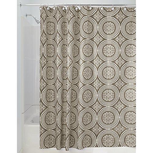 InterDesign Medallion Shower Curtain, 72 By 72 Inch, White/Taupe