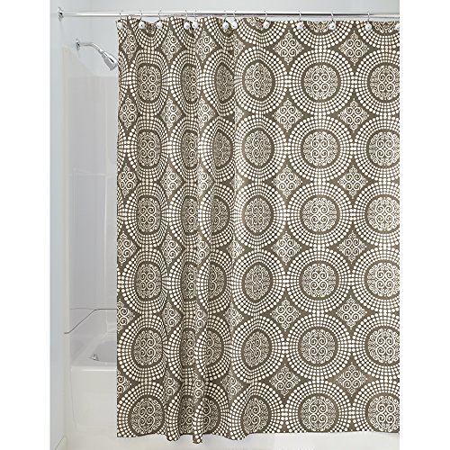 Tan Medallion - InterDesign Medallion Shower Curtain, 72 by 72-Inch, White/Taupe