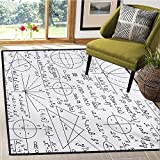 Modern, Door Mats for Inside, School Genius Smart Student Math Geometry Science Numbers Formules Image Art, Door Mat Increase 5x8 Ft Dark Purple White