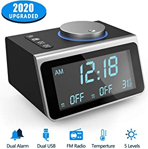 Digital Alarm Clock,Travel Clock with Snooze Backlit Temperature 5 Brightness Dual USB Ports FM Radio Dual Alarms Headphone Jack and 7 Digital Clock Sounds,Loud Alarm Clock for Bedroom Kitchen Office