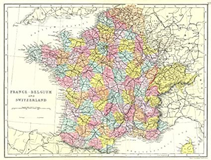 france belgium switzerland france without alsace lorraine bacon 1895 old map
